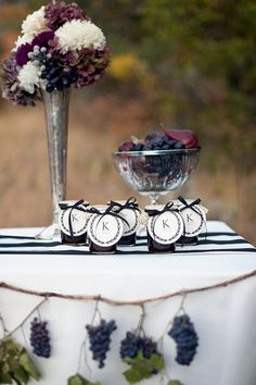 Jelly Jar favors with monogrammed gift tags