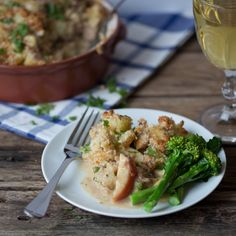 Creamy Pork and Apple Bake - Fall apart pork, slow cooked with apples in a creamy cider sauce, finished off with a cheesy, potato crumble topping.