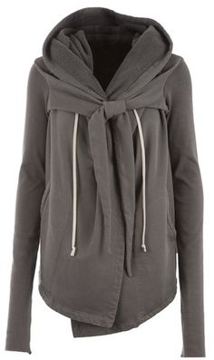 Lovvvee this hoodie! draw, fashion, open front, fall sweaters, bows, closet, cozy sweaters, front cardigan, rick owens