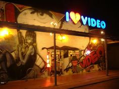 i luv video. this neon and this wall, 2915 guadalupe street.