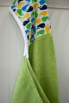 Child Hooded Towels-Boys-Boy-Bath-Towel-Blue-Whales-30x54-Savvy Baby Goodies-Beach-Swim-Cape-Terry-Kids-Hooded-Swimsuit-Cover Up Wraps-Gifts on Etsy, $48.00