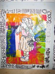 fond collage de papier de soie et  graphisme