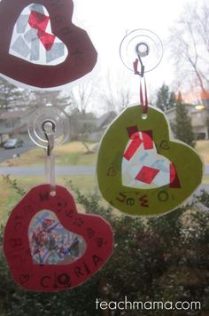 sweet kids' valentines: mini stained glass hearts | no-glue, super-easy #valentines #kidcrafts #weteach