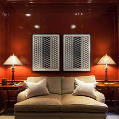 Beautiful, rich color = warm, cozy feel. Love the textile art.