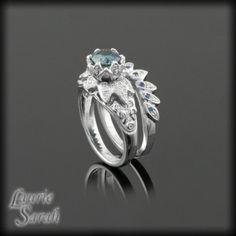 Montana Blue Sapphire Lotus Flower Engagement Ring Wedding Set - LS1158