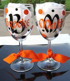 Cute wedding present monogrammed vinyl decal glasses
