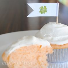 Creamsicle Cupcakes - 3 ingredients: White Cake Mic, Can of Orange Soda, and Frost with Cool Whip