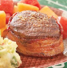 Spice up a bacon-wrapped fillet with a sweet and spicy rub. The recipe for Bacon-Wrapped Fillets with Chipotle Rub can easily be cut in half for a romantic candle-lit dinner for two.