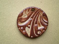 Round Ceramic Focal Bead Cream and Brown by spinningstarstudio, $3.00