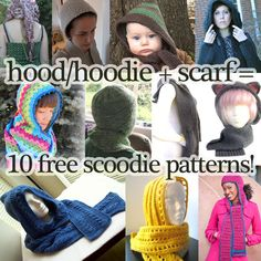 http://www.mooglyblog.com/hood-hat-scarf-10-free-scoodie-patterns/