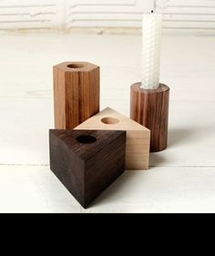 wanted! #geo wood candle holders.