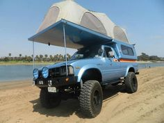 Toyota Truck with camper 4X4, Campers, Vehicl, Camping, Toyota Trucks, Offroad, 4Wd, Saddles, Roads