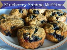 Blueberry Banana Muffin -two of my loves in one muffin and they're healthy #muffins