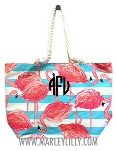 Monogrammed Nautical Flamingo Tote Bag