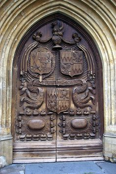 Carved door at Bath Abbey in Somerset