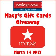 Savings.com Macy's Gift Cards Sweepstakes