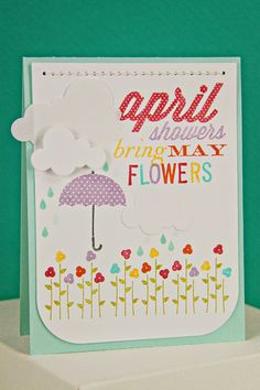 April Showers Card by Erin Lincoln for Papertrey Ink (April 2014)