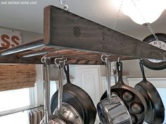 SO cool! Ladder pot rack
