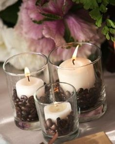 Coffee bean candles--I have done this for so many winters - right after Christmas, I fill the entertainment center full of these off white candles--house smells so so good--Lynn Reed Decor Ideas, Coffee Beans Candles, Coffee Theme, Wedding Reception, Scented Candles, House Smells, Centerpieces, Coffe Beans, Mr. Beans