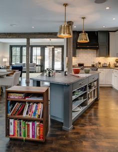 kitchen cubby on casters acts as serving buffet