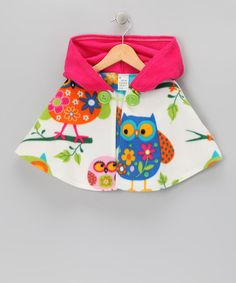 Take a look at this Sew Darn Quilt Pink Owl Fleece Cape - Infant, Toddler & Girls by What a Hoot: Owl Apparel & Accessories on #zulily today!
