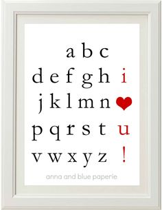 This poster by anna and blue paperie would make a really cute wall decoration for a child's room or nursery. You can customize the colors, too. custom alphabet, diy art, alphabet wall, art prints, kid rooms, printabl custom, valentine ideas, blue paperi, babies rooms