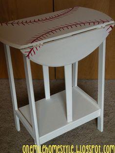 Diy Home decor ideas on a budget. : Make Over Monday - Diy Baseball Side Table For a Little Boy