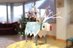 Free printable: Reindeer papercraft download. So cute.