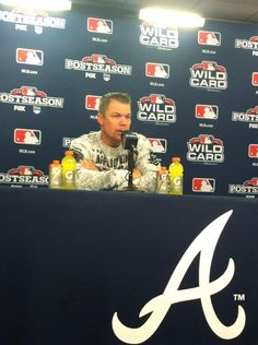 Chipper Jones addressing the media after the final game of his Hall of Fame career.