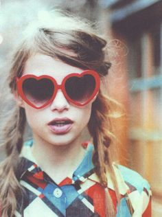grunge, fashion, colors, heart shapes, braids, shade, hair, sunglasses, eyes