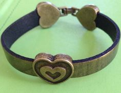 Hearts on Golden Brown Leather Bracelet by joytoyou41 on Etsy, $30.00