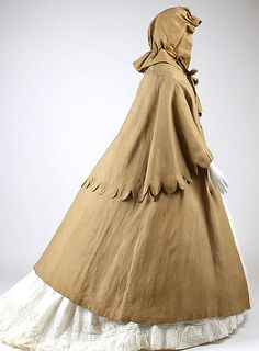 1860-65 Linen Cape and Separate Hood
