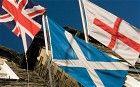 Union Flag, Scottish Saltire, English Cross of St George.