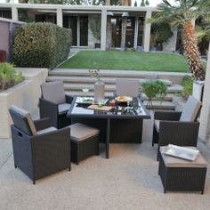 Kubi All-Weather Wicker Nesting Dining Set- Seats 4 - Wicker Dining Sets at Hayneedle