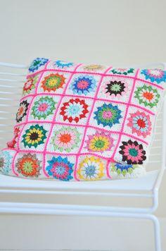 Granny Square Crochet Cushion