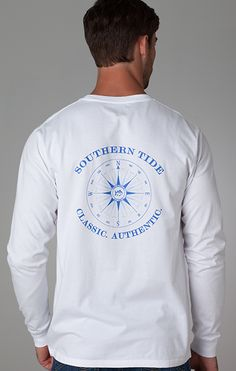 Long Sleeve Compass T-shirt in White #SouthernTide #Skipjack
