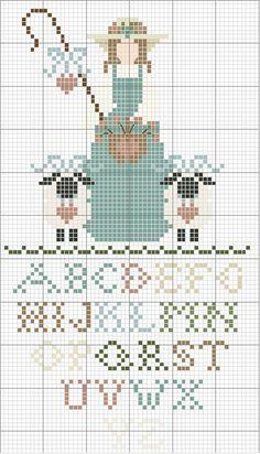 Little Bo Perp, Shepherdess With Alphabet #sampler # cross-stitch