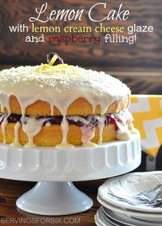 Lemon Raspberry Layered Cake