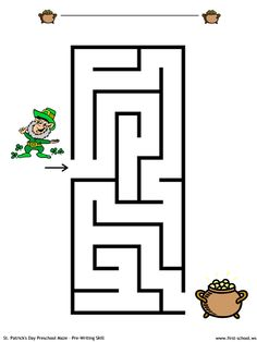 Leprechaun and Pot of Gold Easy Maze:  problem solving skills and pre-handwriting.