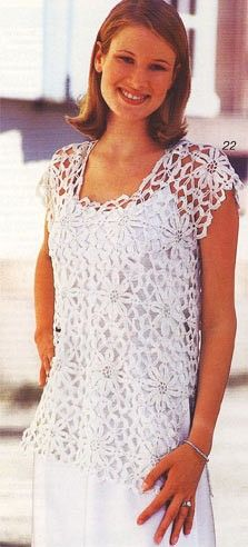 White Top with Flower Motif free crochet graph pattern