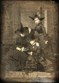 Victorian Witches altered photo by Kelloween. victorian witch, vintag halloween, vintage halloween