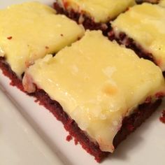Red Velvet Neiman Marcus Bars!  A beautiful Valentine's Day dessert!  Uses red velvet cake mix for fast and easy baking!