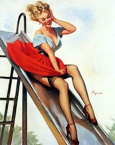 playground, vintage illustrations, pin up art, thought, pinup girl