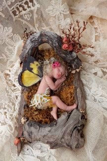 Sweet Slumber hand-sculpted polymer clay fairy