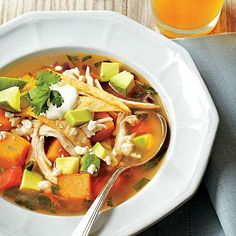 Butternut Squash Tortilla Soup | Texas-based blogger Russell Van Kraayenburg, Houston, Texas, (chasingdelicious.com) warmed up a Tex-Mex favorite, chili, with the addition of butternut squash. | SouthernLiving.com