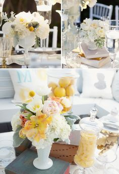 Milk Glass Centerpieces - use glassware like this, each table will be slightly different, with all white and green flowers