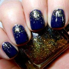 Imperfectly Painted: Dark Blue & Gold Glitter Gradient
