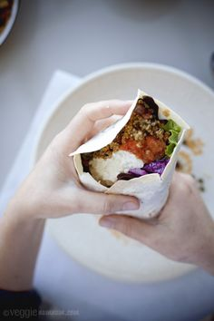 Quinoa & Bean Burritos w/ Slaw & Green Tomato Salsa #vegetarian #recipe #healthy #burritos