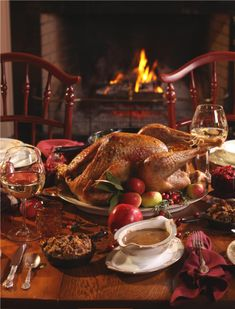 Thanksgiving dinner by the fire