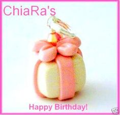 Pink Birthday Present Polymer Clay Charm by CharmthisClayCharms, $3.00